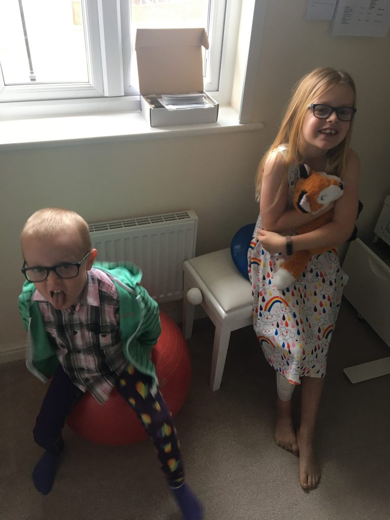 Bryher's children playing with therapy equipment including gym ball, weighted fox and movement cushion in her office whilst she tries to work.